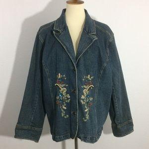 C.J. Banks Denim Stretch Jacket Embroidered Beaded